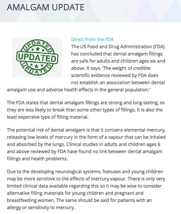 FDA finds Dental Amalgam Dangers are unfounded